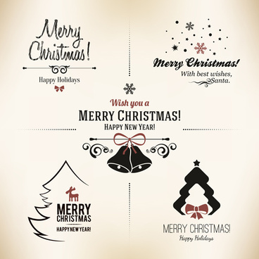 2014 christmas logos creative design vector - Merry Christmas Logos