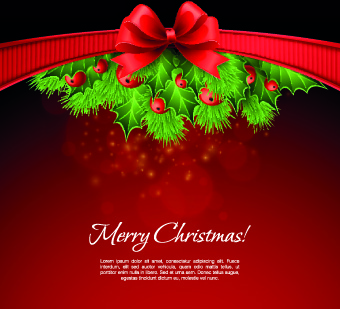 2014 christmas red bow vector background
