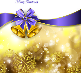 2014 christmas ribbon and bell background