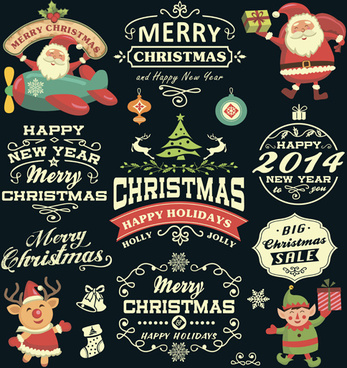 2014 christmas santa with labels sale elements vector