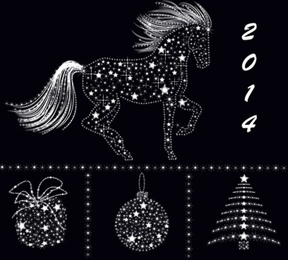 2014 christmas star ornaments elements vector