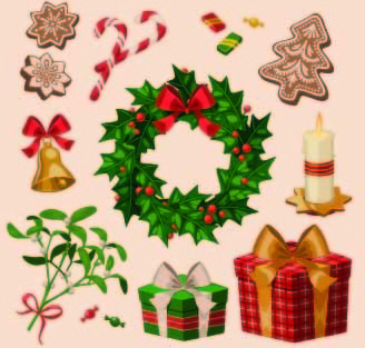 2014 christmas vintage objects vector