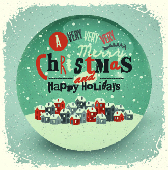 2014 christmas with holiday retro style background vector