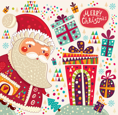 2014 cute cartoon christmas elements vector