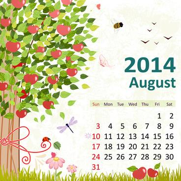 2014 floral calendar august vector