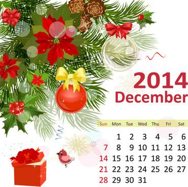 2014 floral calendar december vector