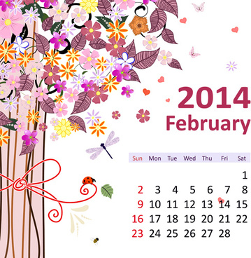 Calendar february 2017 free vector download 1864 free vector for 2014 floral calendar february vector reheart Image collections
