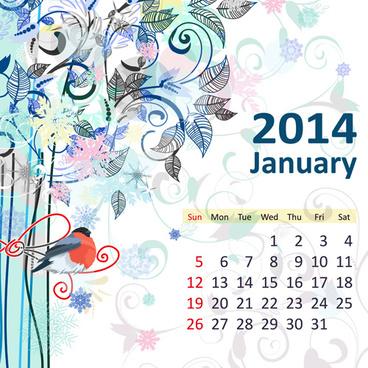 2014 floral calendar january vector