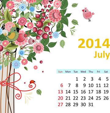 2014 floral calendar july vector