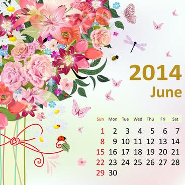 2014 floral calendar june vector