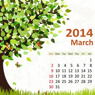 2014 floral calendar march vector