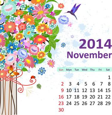 2014 floral calendar november vector