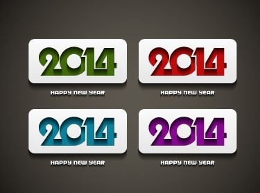 2014 happy new year creative cards vector