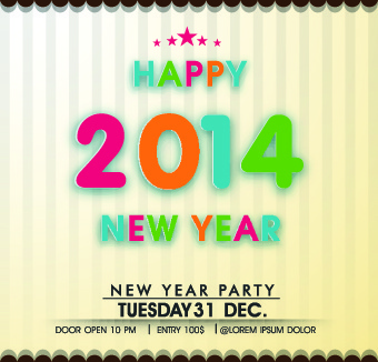 2014 happy new year deisgn vector