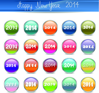 2014 happy new year glass button vector