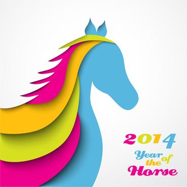2014 horses creative design vector