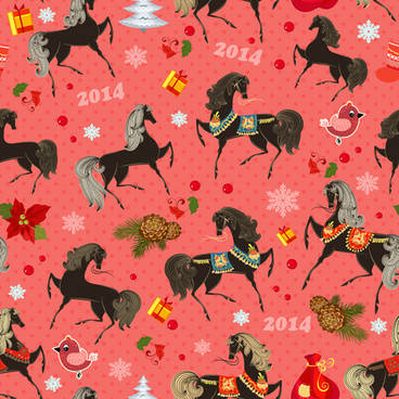 2014 horses seamless patterns vector