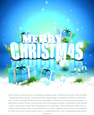 2014 merry christmas blue background with gift vector
