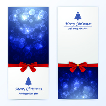 2014 merry christmas bow cards design vector set
