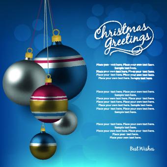 2014 merry christmas decor ball vector background