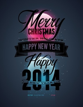 2014 merry christmas poster design elements vector