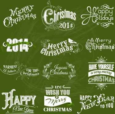 2014 new year and christmas design elements set vector