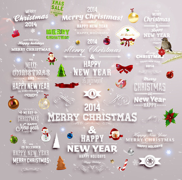 2014 new year and christmas labels with decor vector