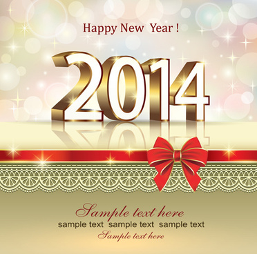 2014 New Year Bow Greeting Cards Vector