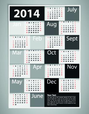 2014 new year calendar vector set