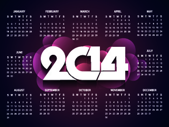 2014 new year calendar vector set