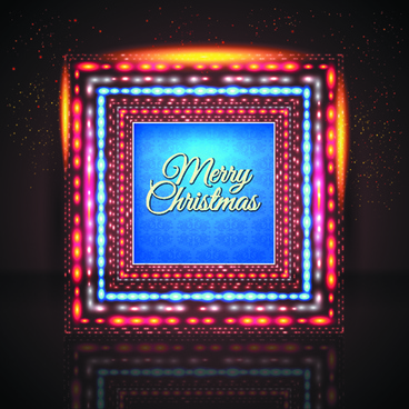 2014 new year christmas colored light frame vector