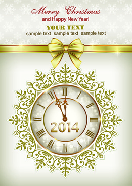 2014 new year clock background set
