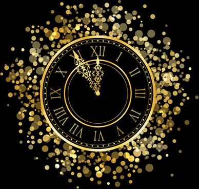 2014 new year clock background set