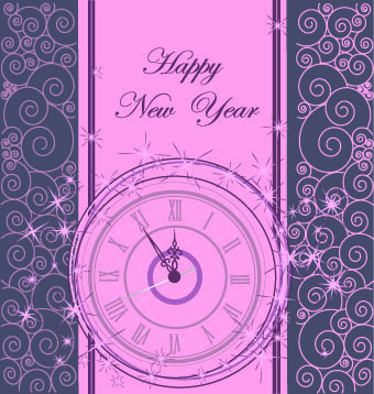 2014 new year clock glowing background vector