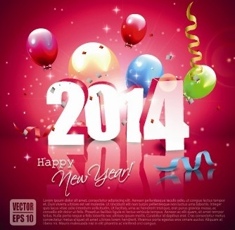 2014 new year colored balloon background