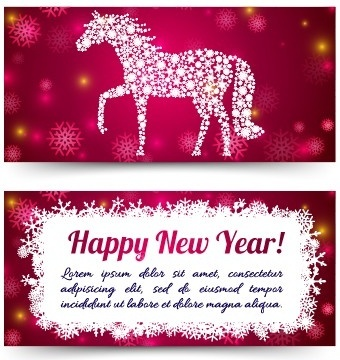 2014 new year horse cards vector