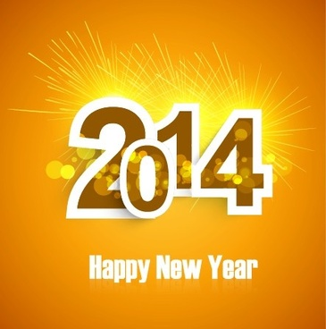 2014 new year text design background set