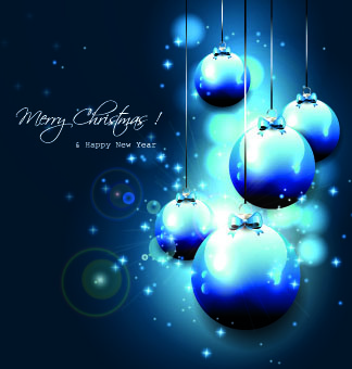 2014 shiny blue christmas ball vector background