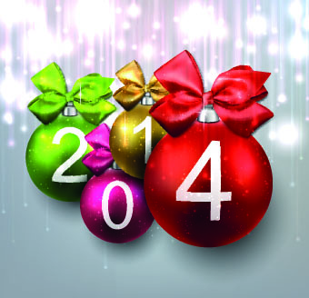 2014 with color christmas balls design vector