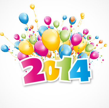 2014 with colored balloon background vector