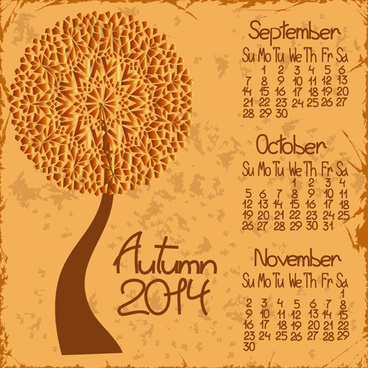 2014 year calendar vector set