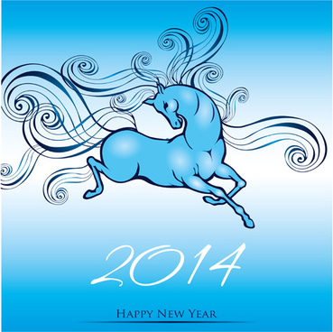 2014 year of the horse cute design vector