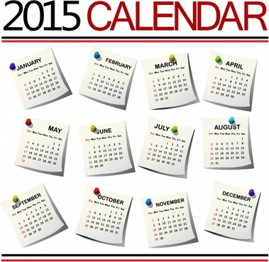 2015 Calendar against white background