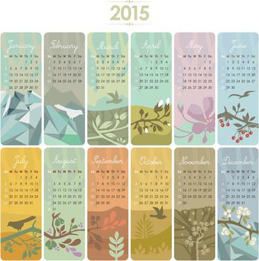 2015 calendar cards floral vector