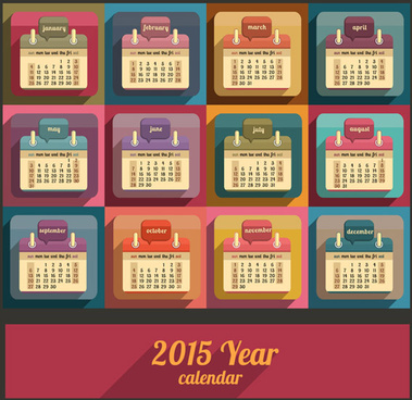 2015 calendar retro color styel vector