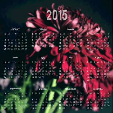 2015 calendar with blurred flower background vector