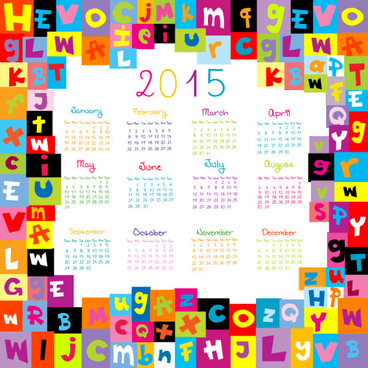 2015 calendar with colored alphabet vector