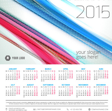 2015 calendar with colored lines vector