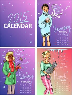 2015 calendar with girls vector
