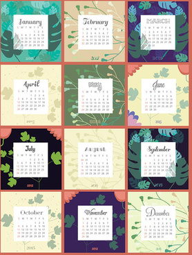 2015 calendar with leaves background vector